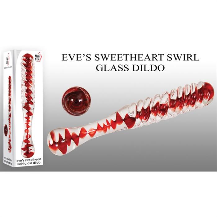 EVE'S SWEETHEART SWIRL GLASS DILDO
